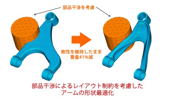 Optishape部品干渉を考慮したアーム形状最適化例